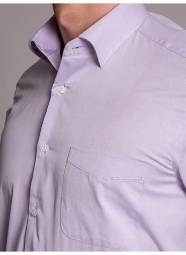 Dufy Açık Grı Ince Dokuma Klasık Erkek Gömlek - Regular Fıt Lila